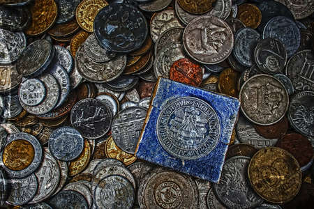 as one: Old coins of different Nationalities, from different periods. Image digitally manipulated as one old photo.
