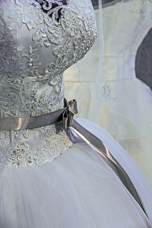 veils: Detail of a wedding dress decorated with crystals, veils, and knot.