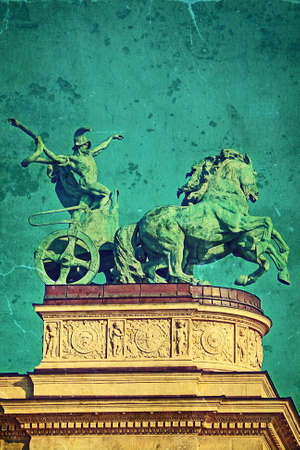 heros: Old photo from Heroes Square Budapest. Vintage processed. Stock Photo