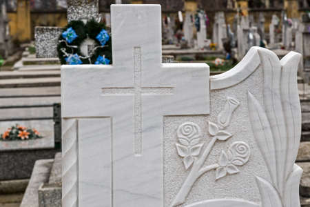 funeral: Type of funeral cross in a joint Orthodox and Catholic cemetery.