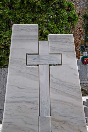 bereavement: Type of funeral cross in a joint Orthodox and Catholic cemetery.