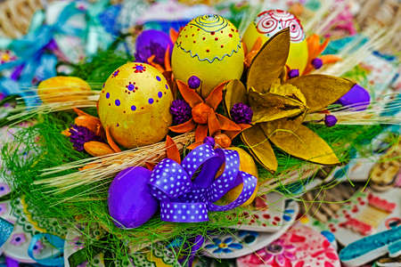 Easter decorations manually created in various forms of design. photo