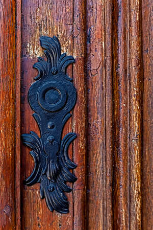lumber room: Detail of a medieval wooden door with ornaments.