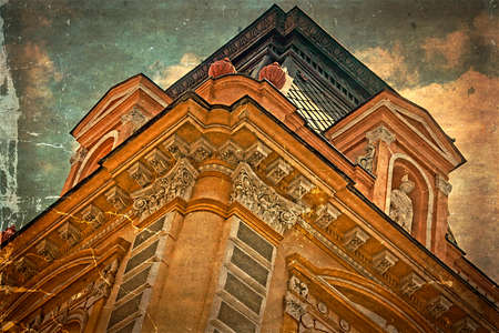 heads old building facade: Architectural details on a historic building in Timisoara, Romania