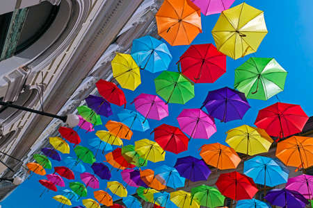hundreds: Hundreds of umbrellas hanging over the streets of Timisoara Romania.