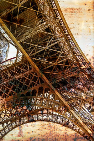 rusty background: Rusty background  with Eiffel tower. Vintage processed. Foto de archivo