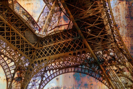 rusty background: Rusty background  with Eiffel tower. Vintage processed. Stock Photo