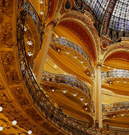 lafayette: Inside at the famous shopping center Galeries Lafayette in Paris. Editorial