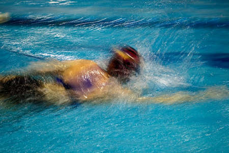 swimmer: Abstract motion a swimmer in a pool.