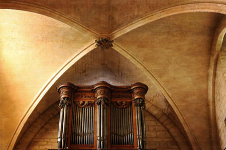 christendom: Old photo with detail of the interior from the Basilica Sacre Coeur cathedral in Paris. Pipe organ. Vintage proccesing. Stock Photo