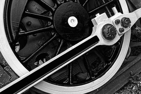 chamber of the engine: Old german steam locomotive in a museum. Detail and close up of huge wheels. Black & white processing.