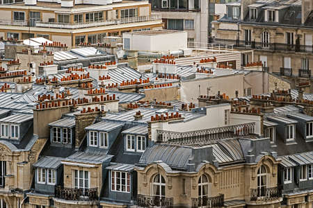 rooftops: Parisian rooftops. Late afternoon view from Eiffel tower, first floor.