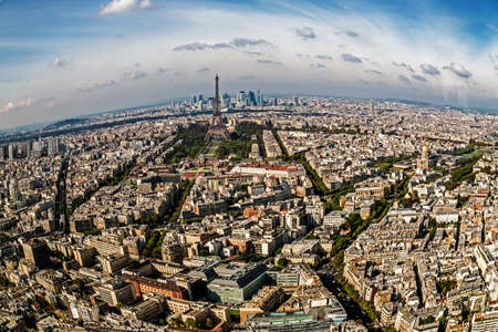 la defense: Fish eye panorama and aerial view of Paris, from Montparnasse tower, with Eiffel tower and La Defense district.
