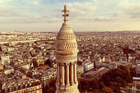 coeur: Old photo with rooftop and aerial view from Sacre Coeur Basilica. Paris, France. Sepia filter applied.