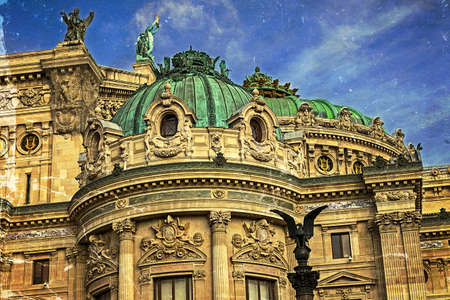 busts: Old postcard with architectural details of Opera National de Paris: Front Facade. Grand Opera Garnier Palace is famous neo-baroque building in Paris