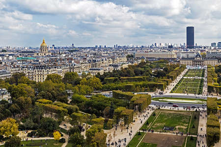 champ: Aerial view on Champ de Mars from Eiffel tower, with Montparnasse tower and Dome des Invalides in Paris, France.