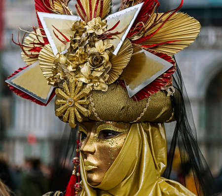 newsworthy: VENICE, ITALY - JANUARY 24, 2016: An unidentified person in a carnival costume attends at the Carnival of Venice , January 24, 2016 in Venice , Italy. Editorial