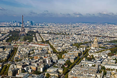 la defense: Aerial view, from Montparnasse tower, with Eiffel tower and La Defense district in Paris, France.