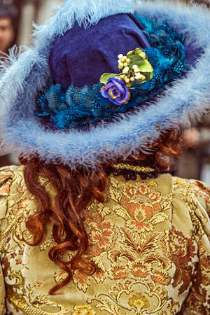 carnival in venice: Back view of a epoque costume at Venetian carnival. Venice, Italy, January 2016
