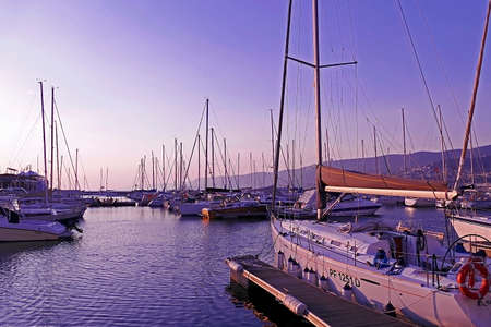 trieste: TRIESTE, ITALY - AUGUST 6, 2015 : Sunset in the nautical smaller boats port. Trieste, Italy. Editorial
