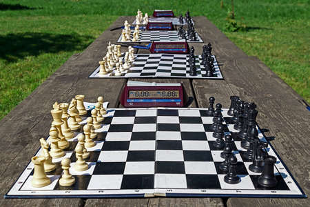 simultaneous: Simultaneous chess competition organized in a park, on Timisoara, Romania. Stock Photo