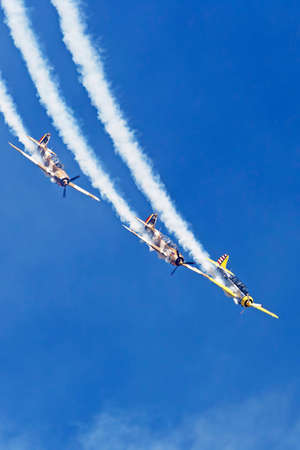 demonstrations: TIMISOARA, ROMANIA - MAY 21, 2016: Vintage planes doing demonstrations at one air show organized by international airport from Timisoara. Editorial