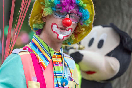 children's show: TIMISOARA, ROMANIA - JUNE 1, 2016: Portrait of clown present at the International Childrens Day, show organised by the Timisoara City Hall.