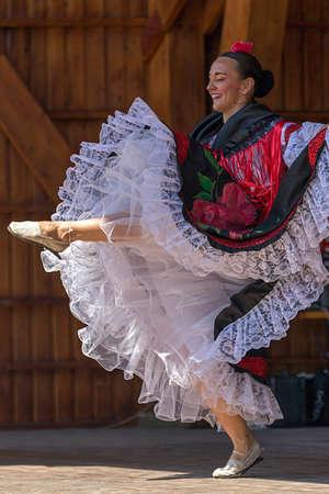 columbian: ROMANIA, TIMISOARA - JULY 10, 2016: Columbian dancer in traditional costume, perform folk dance during  International Festival of hearts , July 6, 2016 in Timisoara.