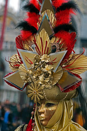 VENICE, ITALY - JANUARY 24, 2016: An unidentified person in a carnival costume attends at the Carnival of Venice , January 24, 2016 in Venice , Italy. Editorial