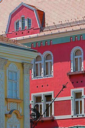 historic buildings: Architectural details at historic buildings in Union Square, Timisoara, Romania. Stock Photo