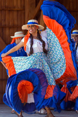 ROMANIA, TIMISOARA - JULY 10,2016:Young dancer from Costa Rica in traditional costume present at the international folk festival International Festival of hearts organized by the City Hall Timisoara