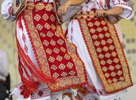 Detail of traditional Romanian folk costumes for women, specific on Banat area.