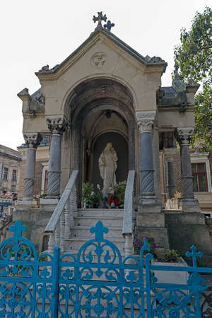 historic district: Monument of St. Mary, located in St. Marys Square in the historic district Iosefin Timisoara, Romania. Stock Photo