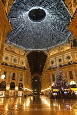 MILAN, ITALY - DECEMBER 12, 2016: Interior at Vittorio Emanuele II Gallery on Christmas time.
