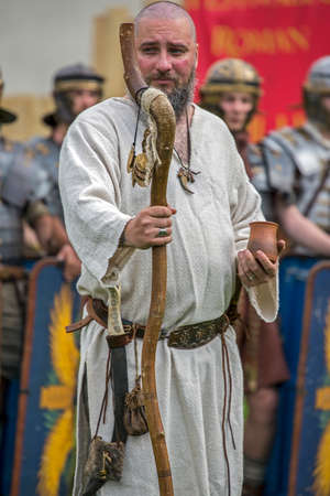 ALBA IULIA, ROMANIA - APRIL 29, 2017: Priest dac shows the ancients costum and rituals in one demonstration at APULUM ROMAN FESTIVAL, organized by the City Hall.