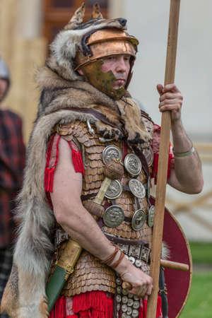 ALBA IULIA, ROMANIA - APRIL 29, 2017: Roman soldier in battle costume, present at APULUM ROMAN FESTIVAL, organized by the City Hall.