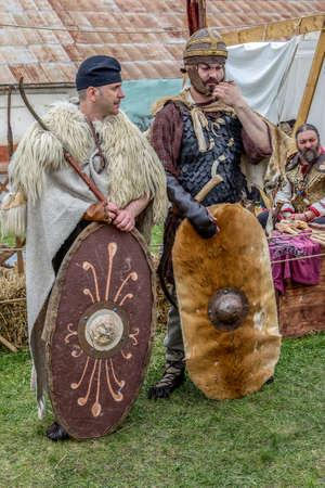 ALBA IULIA, ROMANIA - APRIL 30, 2017: Dacian soldiers in battle costume, present at APULUM ROMAN FESTIVAL, organized by the City Hall.
