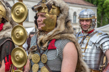 ALBA IULIA, ROMANIA - APRIL 30, 2017: Roman soldiers in battle costume, present at APULUM ROMAN FESTIVAL, organized by the City Hall. Editorial