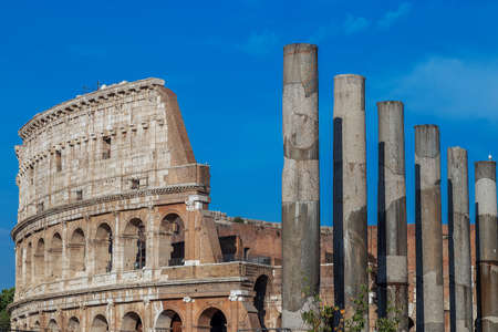 View outside the Colosseum, Rome, Italy, with specific ruins and columns.