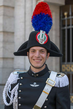 infantry: ROME, ITALY - JUNE 2, 2017: Military parade at Italian National Day. Portrait of soldier.