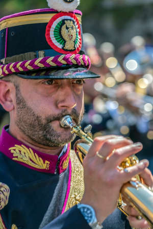 ROME, ITALY - JUNE 2, 2017: Military parade at Italian National Day. Soldier singer. Picture is taken between Piazza Venezia and Teatro di Marcello. Editorial