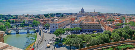 ROME, ITALY - MAY 31, 2017: Panoramic aerial view of the old town of Rome, from San Angelo castle with Vatican Basilica in background. Old town of Rome is listed under the UNESCO world heritage. Editorial