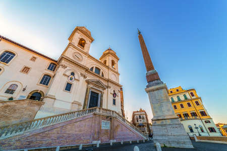 ROME, ITALY - MAY 31,2017: Fish eye view with Church of Trinita dei Monti and Egyptian obelisk, on morning light. Roman Catholic and Renaissance church near the Spanish Steps AND Piazza di Spagna. Editorial