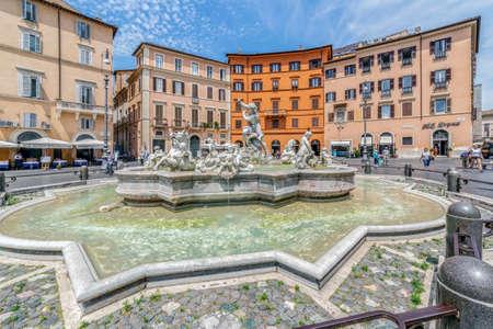 ROME, ITALY - JUNE 1,2017: Piazza Navona, Neptune Fountain in Rome, Italy Editorial
