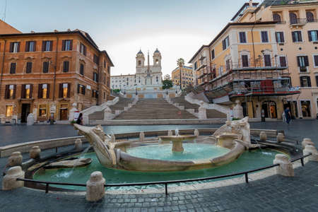 ROME, ITALY - MAY 31,2017: Spanish Steps and fountain in Piazza Spagna at morning time.