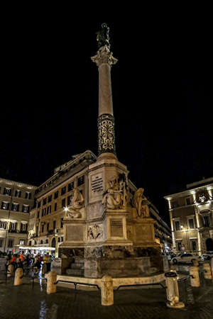 ROME, ITALY - MAY 31,2017: Piazza Mignanelli at night, Colonna Dellimmacolata, next to the Piazza di Spagna. Column of the Immaculate Conception is a nineteenth-century monument.