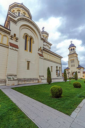 Fish eye view with Coronation Cathedral and Bell tower from Alba Iulia city, Transylvania, Romania.