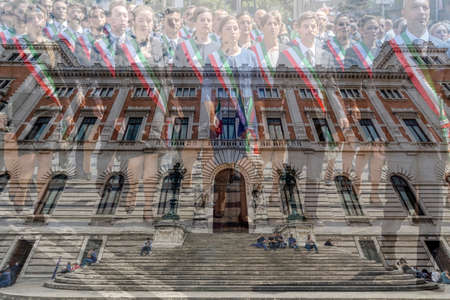 ROME, ITALY - JUNE 1, 2017: Double exposure with Palazzo Montecitorio, building of the italien Parliament and administrative staff at the national day parade of Italy.
