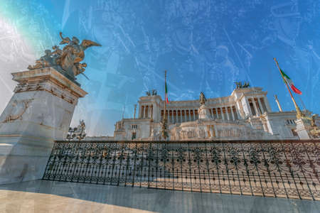 ROME, ITALY - JUNE 2, 2017: Double exposure with the Monument Nazional a Vittorio Emanuele II, king of a unified Italy and soldiers in background that are in parade from National Day of Italy.