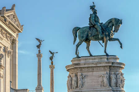 altar of fatherland: ROME, ITALY - MAY 30, 2017: The Monument Nazional a Vittorio Emanuele II built in honour of first king of a unified Italy.